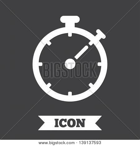 Timer sign icon. Stopwatch symbol. Graphic design element. Flat timer symbol on dark background. Vector