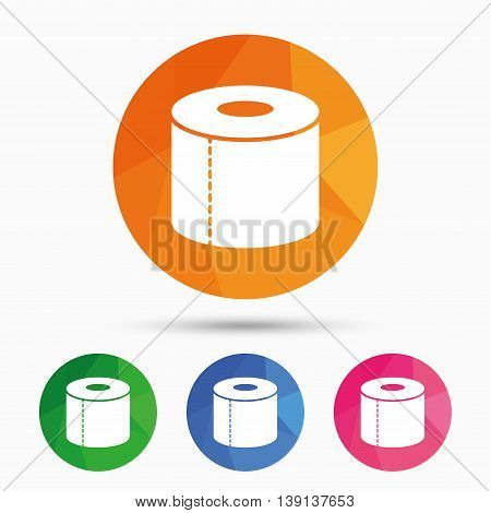 Toilet paper sign icon. WC roll symbol. Triangular low poly button with flat icon. Vector