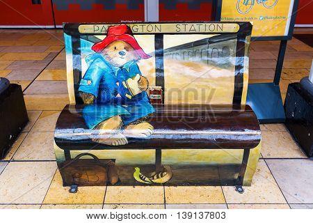 Paddington Bear Bench At Paddington Station In London, Uk
