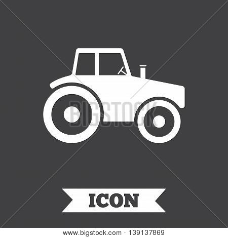 Tractor sign icon. Agricultural industry symbol. Graphic design element. Flat tractor symbol on dark background. Vector