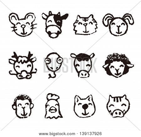 Chinese zodiac animal sign icons in black