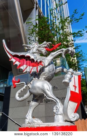 Dragon Statue At The Broadgate Tower In London, Uk
