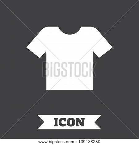 T-shirt sign icon. Clothes symbol. Graphic design element. Flat t-shirt symbol on dark background. Vector