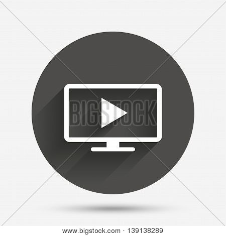 Widescreen TV mode sign icon. Television set symbol. Circle flat button with shadow. Vector