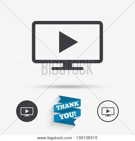 Widescreen TV mode sign icon. Television set symbol. Flat icons. Buttons with icons. Thank you ribbon. Vector