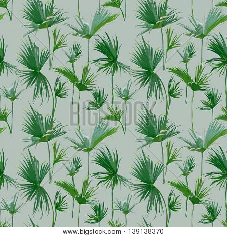 Seamless Tropical Palm Leaves Background. Exotic Summer Texture - for Design, Scrapbook - in Vector