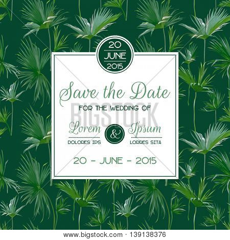 Invitation/Congratulation Card Set - for Wedding, Baby Shower - Tropical Palms Theme - in Vector