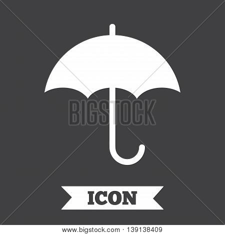 Umbrella sign icon. Rain protection symbol. Graphic design element. Flat umbrella symbol on dark background. Vector