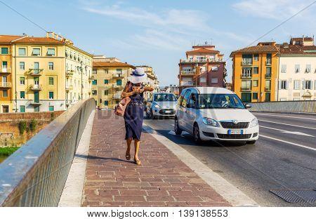 Bridge Over The River Arno In Pisa, Tuscany, Italy