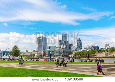 London Cityscape Seen From The Thames Promenade At Southwark