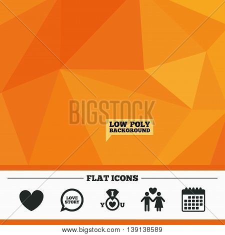 Triangular low poly orange background. Valentine day love icons. I love you ring symbol. Couple lovers sign. Love story speech bubble. Calendar flat icon. Vector