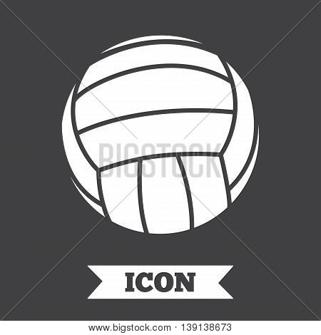 Volleyball sign icon. Beach sport symbol. Graphic design element. Flat volleyball symbol on dark background. Vector