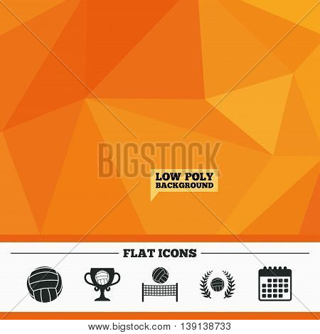 Triangular low poly orange background. Volleyball and net icons. Winner award cup and laurel wreath symbols. Beach sport symbol. Calendar flat icon. Vector