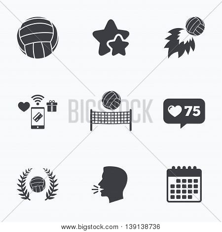 Volleyball and net icons. Winner award laurel wreath symbols. Fireball and beach sport symbol. Flat talking head, calendar icons. Stars, like counter icons. Vector