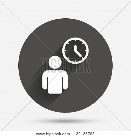 Person waiting sign icon. Time symbol. Queue. Circle flat button with shadow. Vector