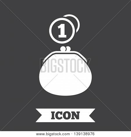Wallet sign icon. Cash coins bag symbol. Graphic design element. Flat wallet cash symbol on dark background. Vector