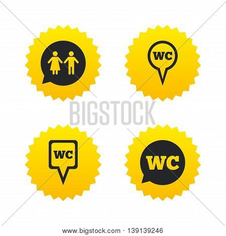 WC Toilet pointer icons. Gents and ladies room signs. Man and woman speech bubble symbols. Yellow stars labels with flat icons. Vector