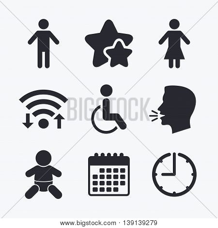 WC toilet icons. Human male or female signs. Baby infant or toddler. Disabled handicapped invalid symbol. Wifi internet, favorite stars, calendar and clock. Talking head. Vector