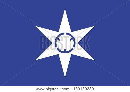 Japan Ibaraki prefecture Mito city flag illustration