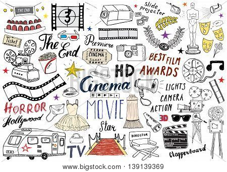 Cinema And Film Industry Set. Hand Drawn Sketch, Vector Illustration.