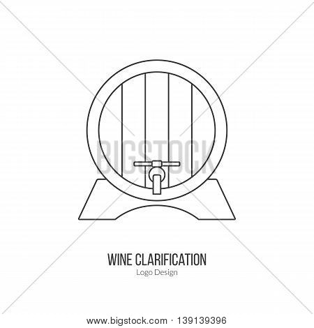 Oak wine barrel. Single logo in modern thin line style isolated on white background. Outline winery symbol. Simple mono linear pictogram. Stroke raster logotype template.