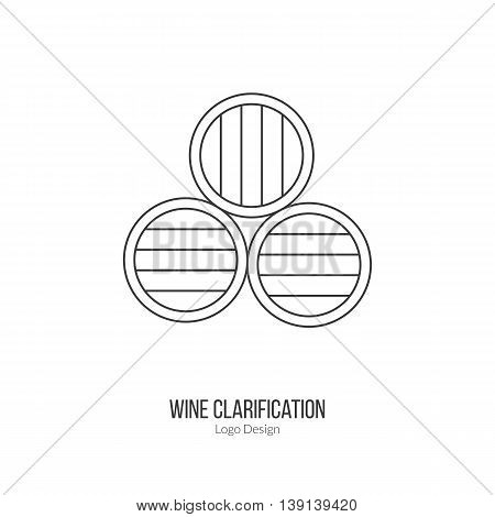 Oak wine barrels. Single logo in modern thin line style isolated on white background. Outline winery symbol. Simple mono linear pictogram. Stroke raster logotype template.