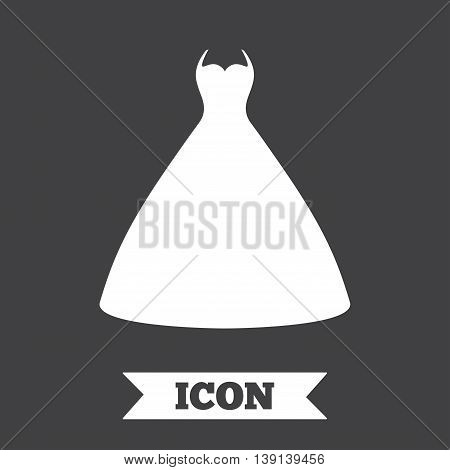 Woman dress sign icon. Elegant bride symbol. Graphic design element. Flat wedding dress symbol on dark background. Vector