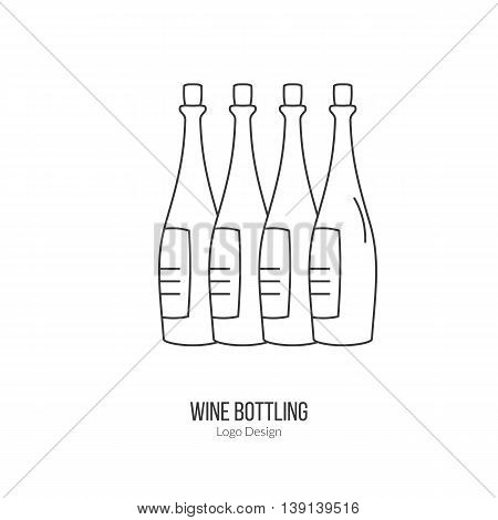Wine bottles. Single logo in modern flat thin line style isolated on white background. Outline winery symbol. Simple mono linear pictogram. Stroke vector logotype template.