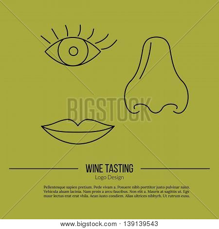 Human nose eye and lips. Single logo in modern thin line style isolated on green background. Outline winery symbol. Simple mono linear pictogram. Stroke vector logotype template.