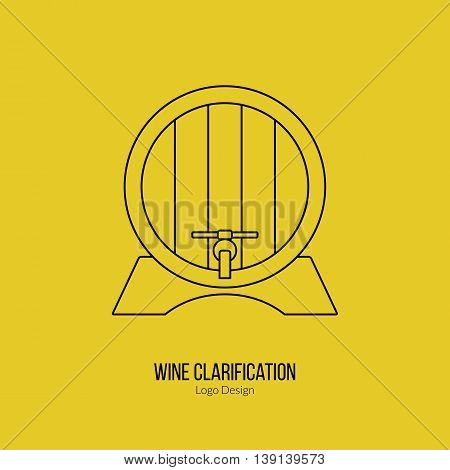 Oak wine barrel. Single logo in modern thin line style isolated on yellow background. Outline winery symbol. Simple mono linear pictogram. Stroke vector logotype template.