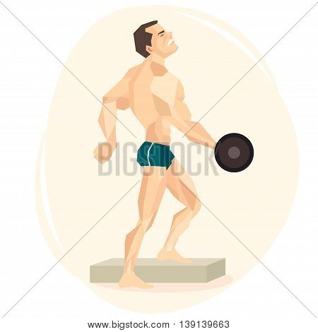 Vector illustration of an white athlete weightlifter.