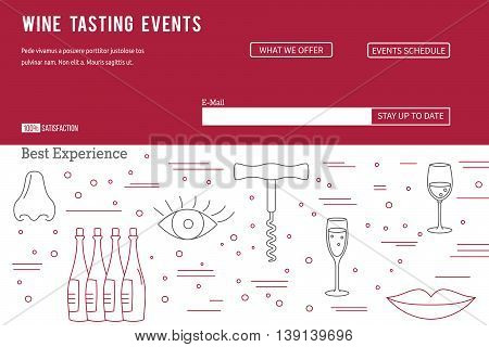 raster website banner landing page template with buttons. Design elements of grape cultivation, wine making, alcoholic beverage sales and wine tasting. Isolated winery symbols in flat, thin line style