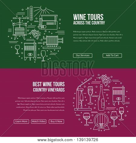 Vector website banner landing page template with buttons. Design elements of grape cultivation, wine making, alcoholic beverage sales and wine tasting. Isolated winery symbols in flat, thin line style