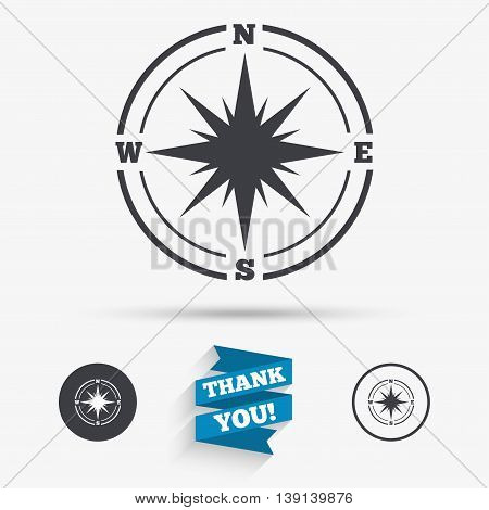 Compass sign icon. Windrose navigation symbol. Flat icons. Buttons with icons. Thank you ribbon. Vector