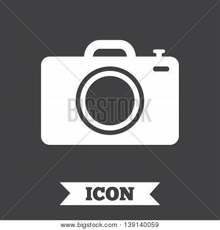 Photo camera sign icon. Digital photo camera symbol. Graphic design element. Flat photo camera symbol on dark background. Vector