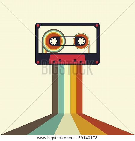 Cassette retro vintage style music abstract vector illustration