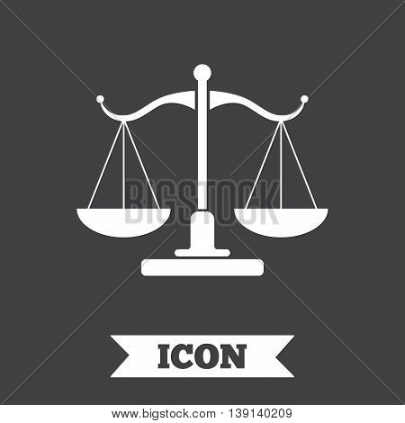Scales of Justice sign icon. Court of law symbol. Graphic design element. Flat scales of justice symbol on dark background. Vector