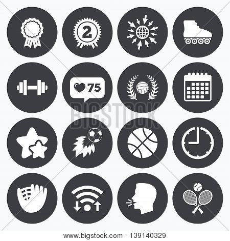 Calendar, wifi and clock symbols. Like counter, stars symbols. Sport games, fitness icons. Football, basketball and volleyball signs. Dumbbell, baseball and winner award symbols. Talking head, go to web symbols. Vector