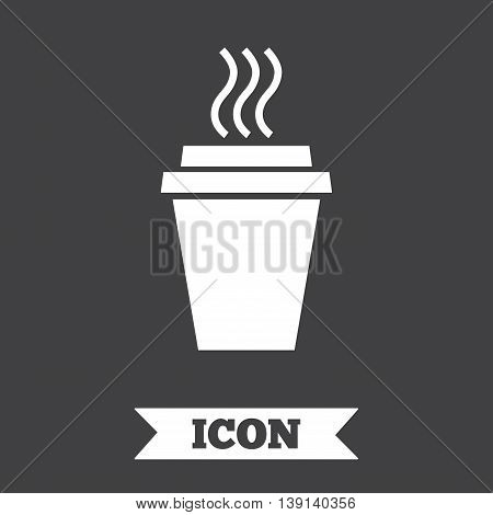 Take a Coffee sign icon. Hot Coffee cup. Graphic design element. Flat take coffee symbol on dark background. Vector