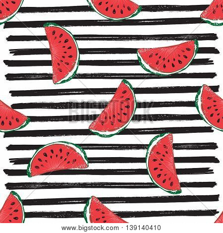 Water Melon Seamless Pattern Striped Vector Illustration