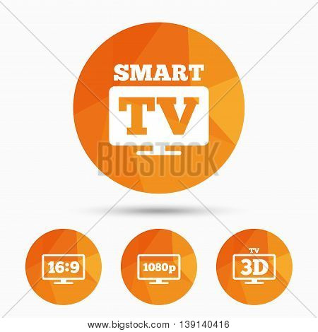 Smart TV mode icon. Aspect ratio 16:9 widescreen symbol. Full hd 1080p resolution. 3D Television sign. Triangular low poly buttons with shadow. Vector