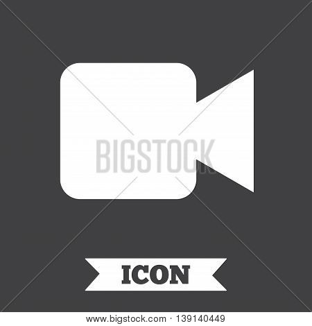 Video camera sign icon. Video content button. Graphic design element. Flat video camera symbol on dark background. Vector