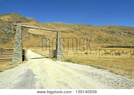 Gate of stone. New Zealand south island scenery