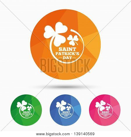 Clovers in circle with three leaves sign icon. Saint Patrick trefoil shamrock symbol. Triangular low poly button with flat icon. Vector