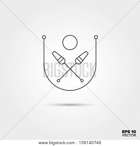 Rhythmic Gymnastics equipment Line Icon Vector