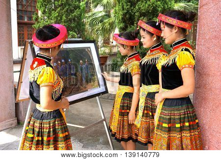 LANG SON, Vietnam, January 13, 2016 Hmong ethnic group of young women, highland Lang Son, Vietnam, artwork exhibition