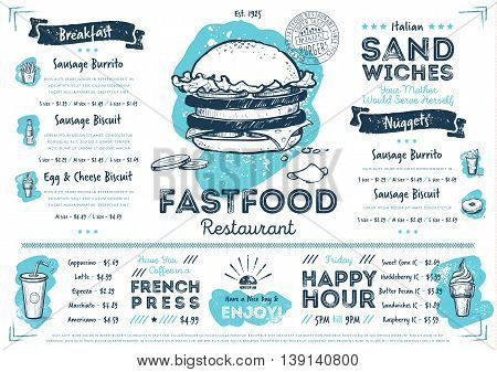 Restaurant menu design. Fast food cafe menu. Food menu template. Fast food restaurant flyer vintage design vector illustration. Gourmet menu board. Fast food cafe flyer. Hand drawings fast food elements. Vintage menu. Menu card.
