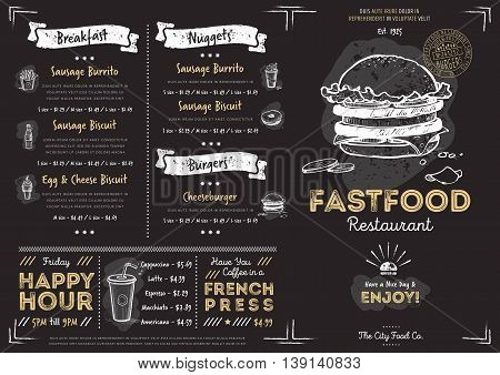Burger menu design. Burger menu template. Chalkboard menu background. Fast food menu design template. Food menu card. Black menu design. Pizza, burgers, drinks and other hand drawing elements in vintage style. Burgers restaurant menu board.