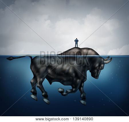Search for investing prosperity success and hidden bullish market financial concept as a confused and lost businessman standing on an island as a bull underwater as a metaphor for economy trend in a 3D illustration style.