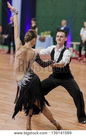 Minsk Belarus -May 29 2016: Unidentified Dance Couple Performs Youth-2 Latin-American Program on National Championship of the Republic of Belarus in May 29 2016 in Minsk Belarus